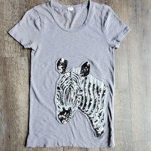 J. CREW | Sequin Zebra Tee | Small